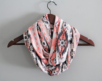 Beautiful Coral and Grey Aztec Print Sweater Knit Infinity Scarf