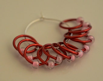 Large Red Pink  - Snagless - Dangle and Snag Free -  Stitch Markers - Light Weight