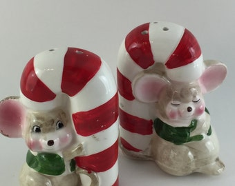 Candy Cane and Christmas Mice Salt and Pepper Shakers