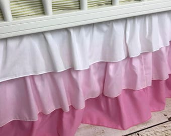 Ombre crib skirt,three tiered skirt, pink,ruffled crib skirt,pink gradient, crib skirt, pink ombre