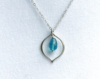Faceted London Blue Topaz Sterling Marquis Necklace