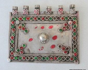 Vintage Antique Ethnic Tribal Old Silver Pendant Amulet
