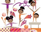 Little Girl Gymnasts Clip Art Set Afro Girl Cliparts Cute dress rhythmic gymnastic acrobatic Sport ribbon elements Digital Papers pf00064-1f
