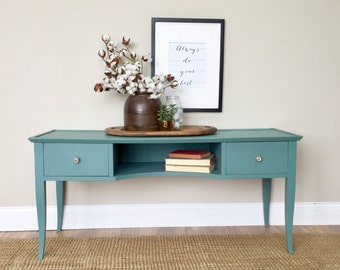 TV Media Console - Teal Console Table - Painted Furniture - Behind Couch Table - Entry Way Table - Small Credenza - Distressed Furniture