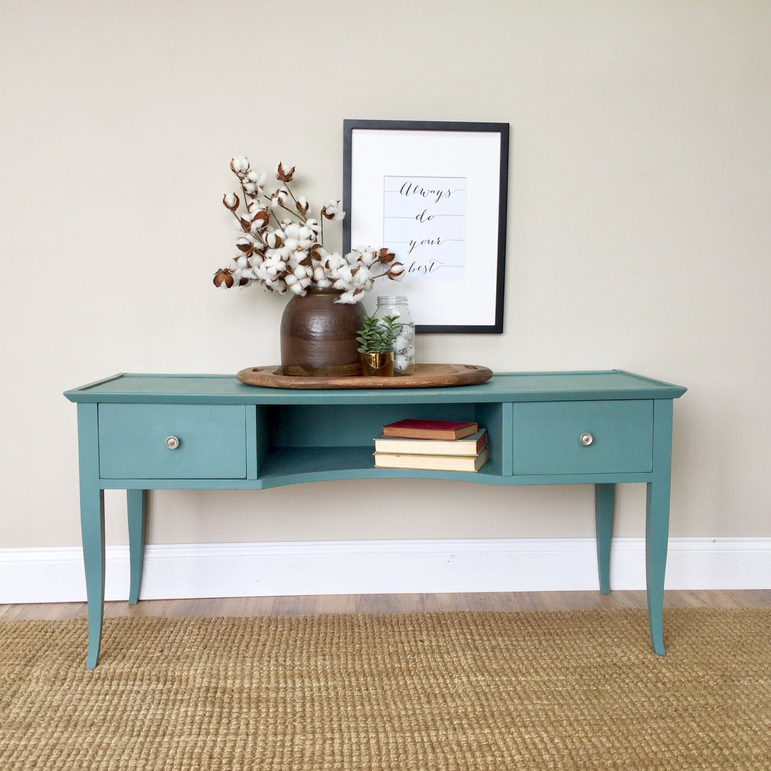 TV Media Console Teal Console Table Painted Furniture Behind