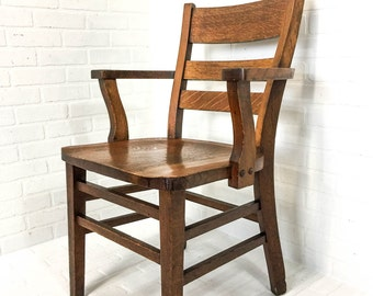 Antique Oak Mission Chair Library Banker Lawyer Juror Arts & Crafts Vintage Office Chair Quartersawn