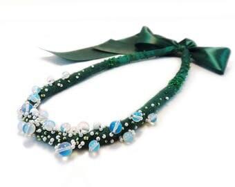 Green Felt Necklace. Opalite Jewelry. Merino Wool Necklace. Statement Jewelry. Beaded Necklace. Textile Jewelry. Greenery Jewelry