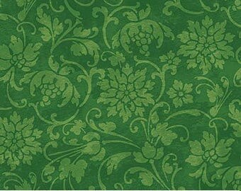 Christmas Fabric - By The Yard- Green Poinsettia - Holiday Material - Quilting Cotton - Pillowcase, Apron - Fat Quarter - Choose Your Length