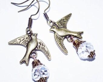 Bird charm crystal women earrings