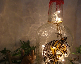 Horse Mare and Colt Recycled Makers Mark Bourbon Bottle Accent Lamp