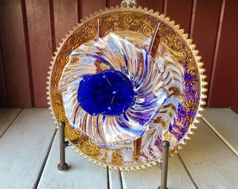 """Repurposed Glass Flower, Sun Catcher Glass Garden Art - """"Chelsea"""" Marigold Cobalt Blue Glass Flower, Made from Glass Plates"""