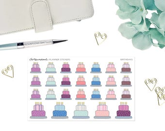 Planner Stickers - Birthday Cake Reminders Set of 26