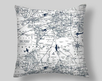 Blue Pillow Cover Airplane Pillow Aviation Pillow Chart Pillow  All  Sizes  16  18 x 18 20  Cushion Covers map pillow