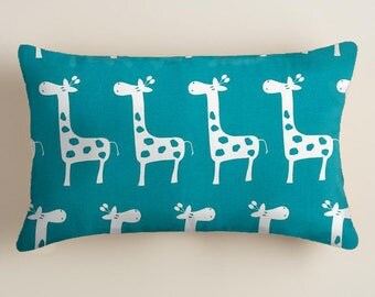 Blue Pillow. Giraffe Pillow. Blue Nursery Pillow Accent Pillow Throw Pillow 12 x 18 Lumbar  Pillow Decorative Pillow Cover.