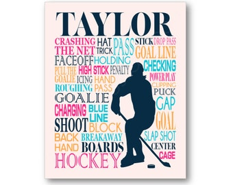 Women's Hockey Typography Art Print, Girl's Room Art, Choose Any Colors, Gift for Women's Hockey Player or Lover, Hockey Team or Coach