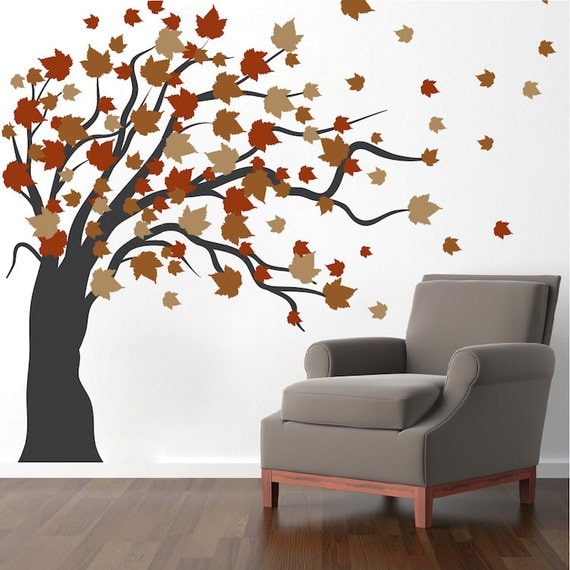 Autumn spring tree wall decal autumn tree wall vinyl mural for Autumn tree mural
