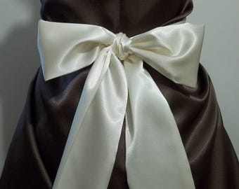 """WHITE CHAMPAGNE Bridal Sash Satin Sash Choose your length from 110"""" up to 125"""""""