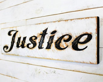 """Justice Sign - 40"""" x 10"""" Carved in a Cypress Board Rustic Distressed Arts & Crafts Farmhouse Style Wall Decor Wooden Gift"""