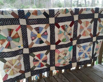 VINTAGE HAND SEWN Quilt Top 1940s 50 60s Pinwheel primitive Tennessee barn find Nashville country antique old fashioned beautiful ooak love