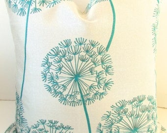 TURQUOISE PILLOW Covers Teal Throw Pillows Teal Green Pillow Covers  Tuquoise Blue Pillows Dandelion 18x18 Home and Living
