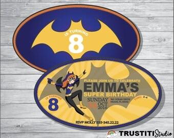 DC SUPERHERO Girls BATGIRL Invitation, Batgirl Birthday, Dc Super hero girls Birthday party.