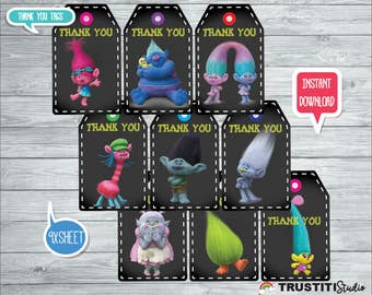 TROLLS THANK YOU Tags, Princess Poppy, Amapola, super cute thank you cards trolls movie, compleanno, anniversaire