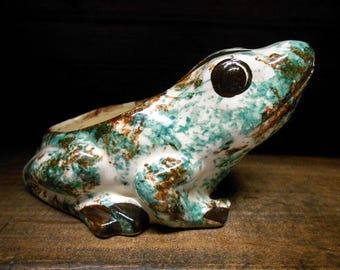 Frog Planter Sponge Holder Spatterware Spongeware Vintage