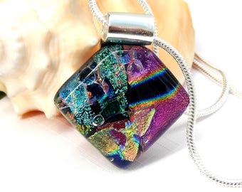 Multicolor Dichroic Glass Pendant, Fused Glass Jewellery, Mixed Colour Art Glass Square Necklace