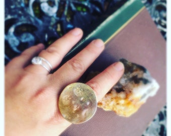 Statement ring brass moon ring hand formed using beach stones recycled Sterling eco Silver band Super Moon