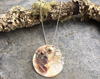 Unique Planet necklace Sterling Silver with brass & copper textured with Cornish beach stones