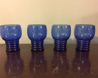 Vintage Art Deco Style Set Of 4 Cobalt Blue Glass Small Cordial Cocktail Goblets Glasses Beehive Pedestals 4 Oz Taster Or Large Shot Size