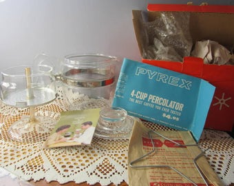 PYREX 7754 BOXED FLAMEWARE Percolator Glass 4 Cup Coffee Pot maker Percolator Advertising sleeve and instructions Complete and in Box Flame