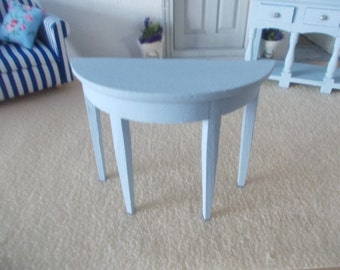 side table hall table painted blue 1 12th scale miniature dollhouse furniture