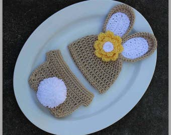Baby Bunny Hat and Diaper Cover Crochet Pattern... Size: Newborn ... Instant download