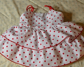A White Dress with Red Polka Dots for a Baby Girl Size 9-12 Months