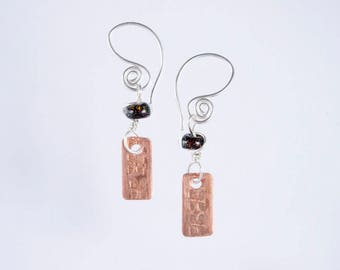 The Pacifik Image's Goodwin and Maxwell: Lampwork Recycled Glass Earrings with Original  Handstamped Copper Dangles