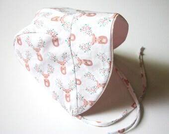 Baby Bonnet, Baby Sun Bonnet, Brimmed Bonnet, Spring Bonnet, Summer Baby Bonnet, Deer, Summer Bonnet