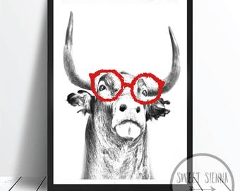 Bull Print, Animal Print, scandi and nordic decor, wall print, wall art, monochrome print, wall decor, children wall art - 8x10'