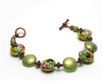 Lampwork Glass Ladybug Bracelet - Pink and Green Lampwork Bracelet with Olivine Czech Glass and Antique Copper Accents - Handmade Jewelry
