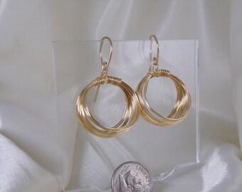 Gold filled Wire Hoop earrings large handmade item 928