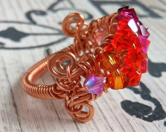 Ombre Crystal Ring, Copper Wire Wrap Ring, ombre ring, crystal ring, organic ring, boho ring, Bohemian Jewelry