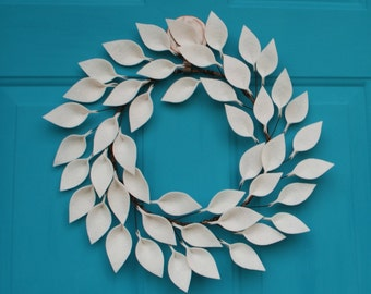 "Modern Year Round Wreath - Felt Leaf Wreath in Soft White - Everyday Door Wreath - Neutral Wreath - 15-16"" size"