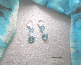 Aqua blue, spiral dangle earrings, rose gold wire, turquoise blue, handmade, gift under 20, GBT233