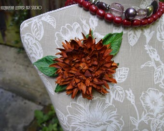 Orange Dahlia leather flower brooch, leather jewelry, leather flower corsage, leather gift, gift for her, Mother's day jewelry