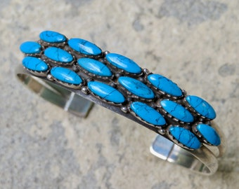 Turquoise and Silver 17 Stone Cuff, Native American Turquoise Jewelry, Handmade Turquoise Bracelet, Turquoise Row Bracelet, Native American