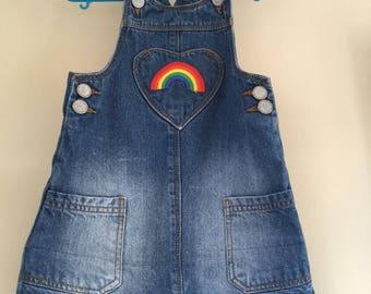 18-24 months toddler girls denim rainbow dress