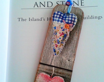 Hearts Bookmark, Wooden, Decoupage