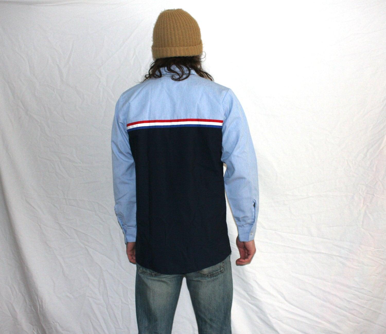 Vintage Hot Hipster Mechanic Worker Button Up Shirt. Blue Red ...
