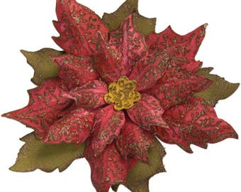 Sizzix - Bigz Die with Texture Fades - Layered Tattered Poinsettia by Tim Holtz