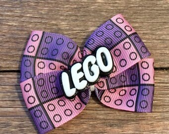 Girly Lego Hair Bow-Legos Bow-Lego Hair Accessory-Lego Birthday Party Hair Bow-Lego Building Blocks Hair Bow